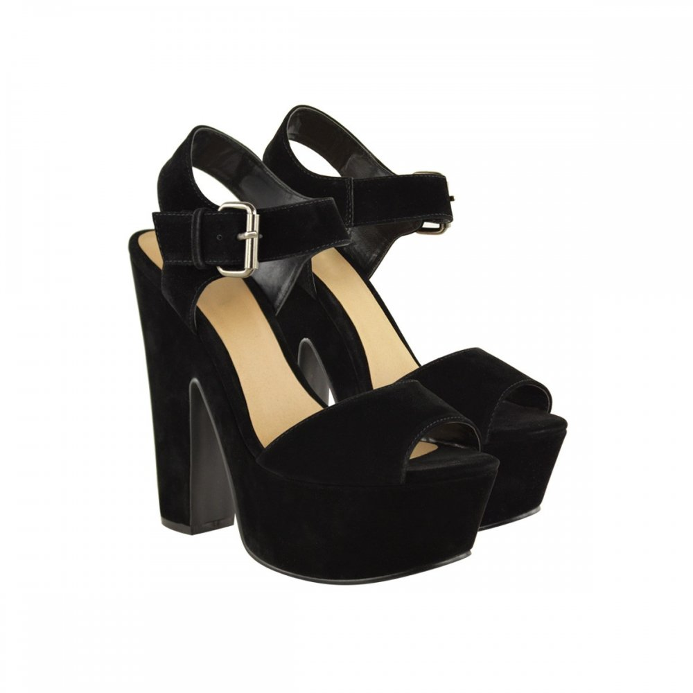 Alicia Black Suede Block Heel Platform Shoes Parisia Fashion