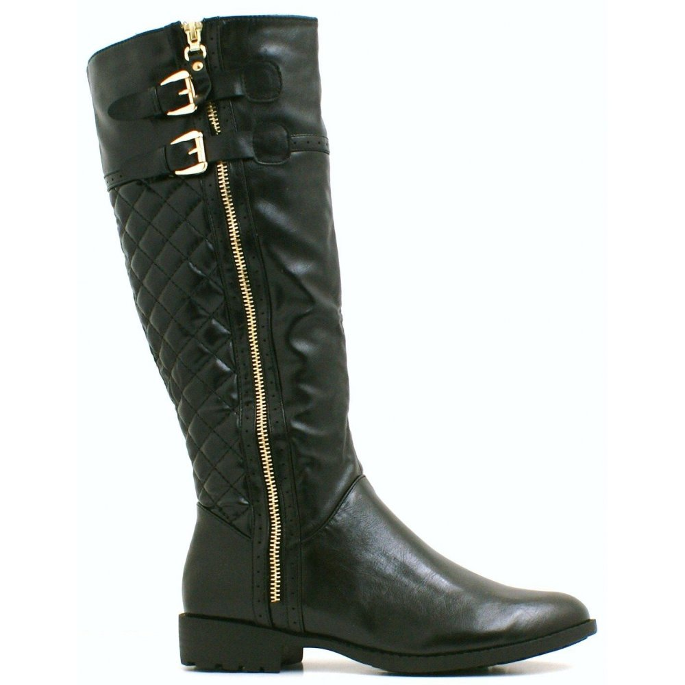 alisha black side buckle quilted boots parisia
