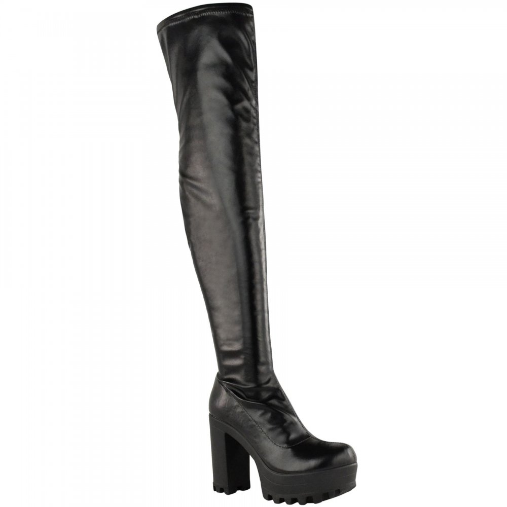 8b3d9f87b9f Alysha Black Leather Knee High Block Heel Boots - Parisia Fashion
