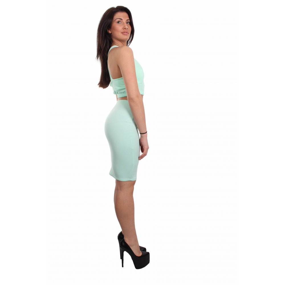 Amber Mint Green Low Cut Crop & Midi Skirt Twin Set - Parisia Fashion
