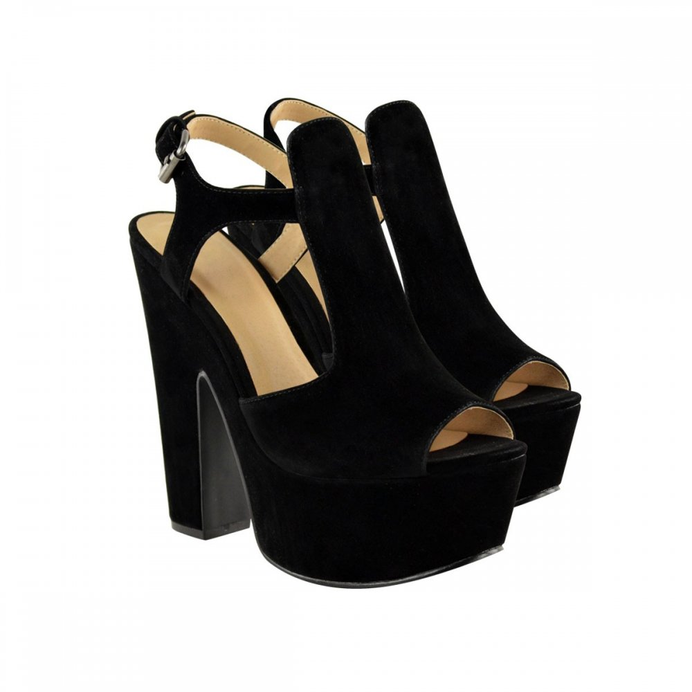 dc15a760779 Ameila Black Suede Block Heel Platform Shoes From Parisia Fashion