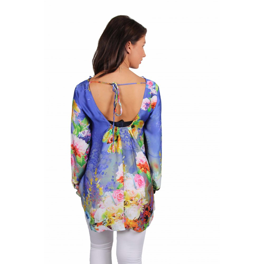 April Blue Floral Kimono Style Top - Parisia Fashion