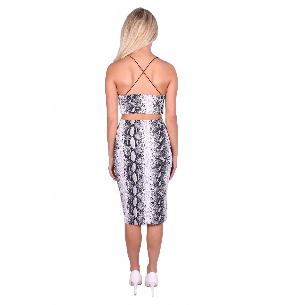 Ariel Snake Skin Strappy Top And Midi Skirt 2 Piece