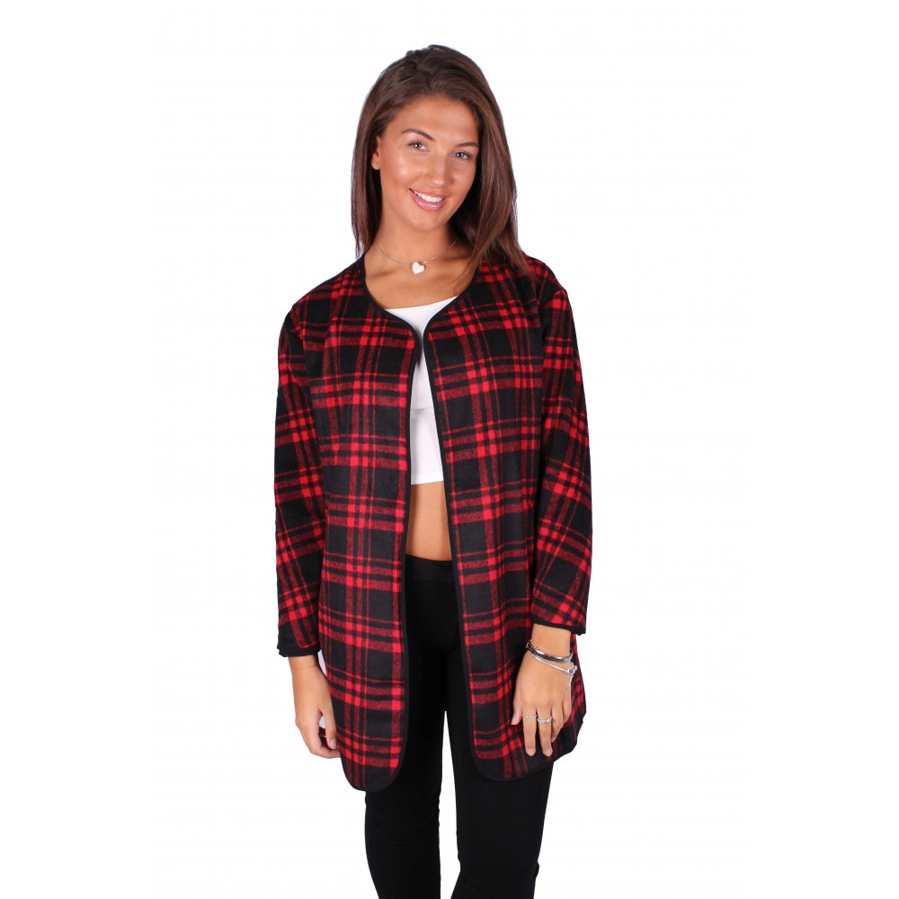 Red And Black Tartan Checked Open Front Cardigan - Parisia Fashion