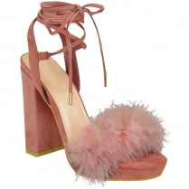 Baby Pink Faux Fur Block High Heel Tie up Heels