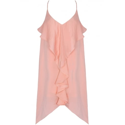 Baby Pink Front Ruffle Open Slit Back Shift Dress