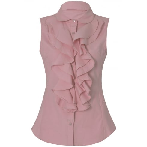 Baby Pink Front Ruffle Sleeveless Collared Shirt