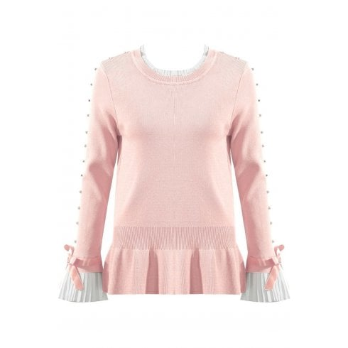 Baby Pink Jumper With Diamante Sleeve And Shirt Cuff And Neckline