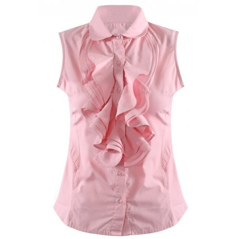Baby Pink Ruffle Front Sleeveless Collared Shirt