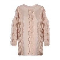 Baby Pink Ruffle Trim Long Sleeve Fitted Cuff Knitted Jumper