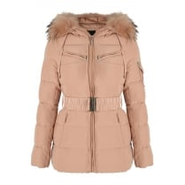 Baby Pink Short Padded Coat with Matching Racoon Fur Hood