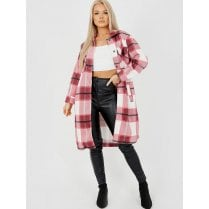 Baby Pink White And Grey Checked Button Up Side Split Long Shirt Jacket Shacket