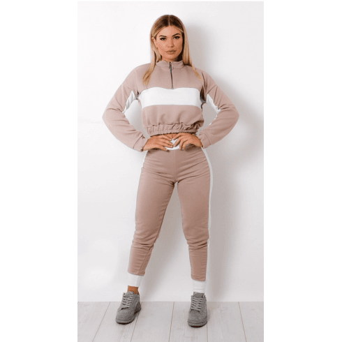 Beige And White Strip 2PC Lounge Set Joggers And Crop Jumper