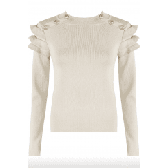 Beige Button Frill Sleeve Ribbed Jumper