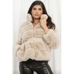 Beige Faux Fur Elasticated Waist Jacket