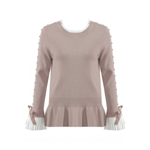 Beige Jumper With Diamante Sleeve And Shirt Cuff And Neckline