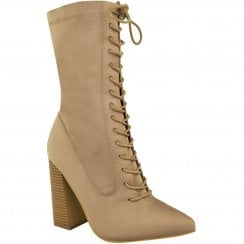 Beige Lycra Pointed Toes Lace Up Front Block High Heel Ankle Boots