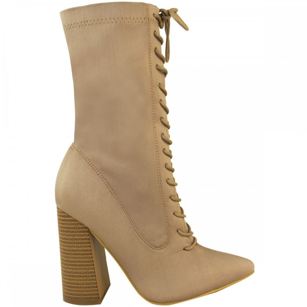70952a3625 Beige Lycra Pointed Toes Lace Up Front Block High Heel Ankle Boots