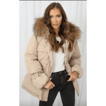 Beige Real Racoon Fur Hood Tie Belt Waist Coat