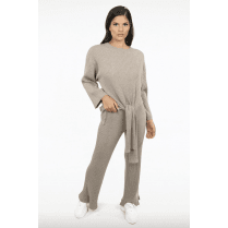 Beige Ribbed Knit Tie Front Jumper & Trouser Set