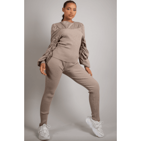 Beige Ruched Sleeve Knitted Loungewear Set