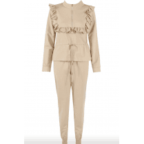 Beige Ruffle Trim Zip Neck Loungewear Set