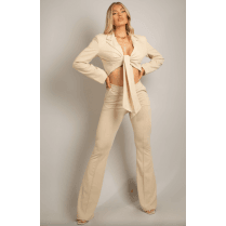 Beige Tailored Front Knotted Blazer & Fitted Flared Trouser Set