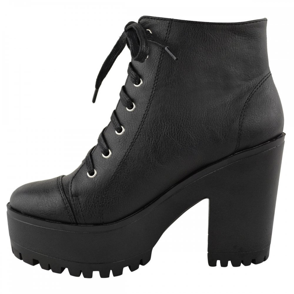 Beth Black Block Heel Lace Up Ankle Boots - Parisia Fashion