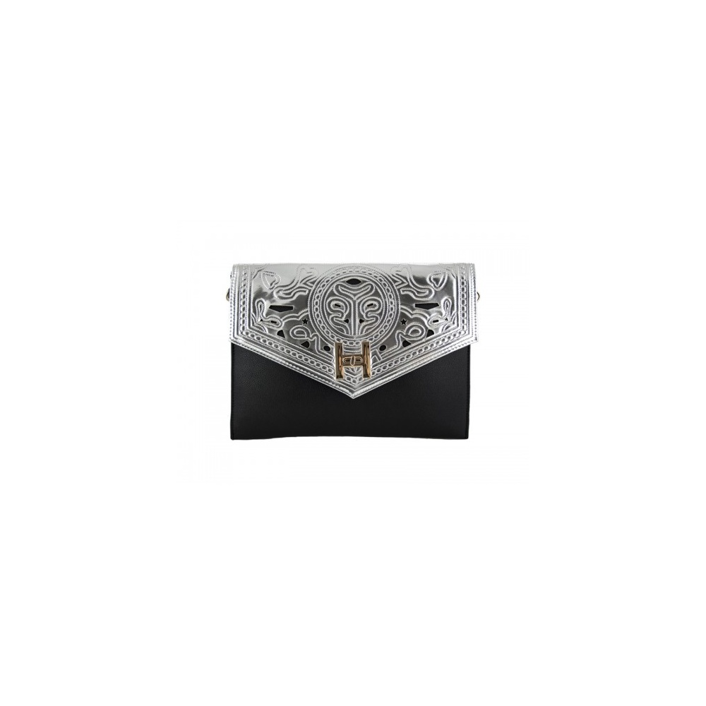 221474c260 Black and Silver Clutch Bag From Parisia