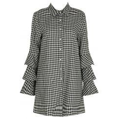Black And White Gingham Long Ruffle Sleeve Shift Dress