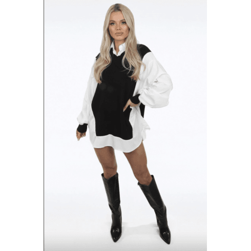 Black And White Oversized Collared Knitted Vest Look Shirt