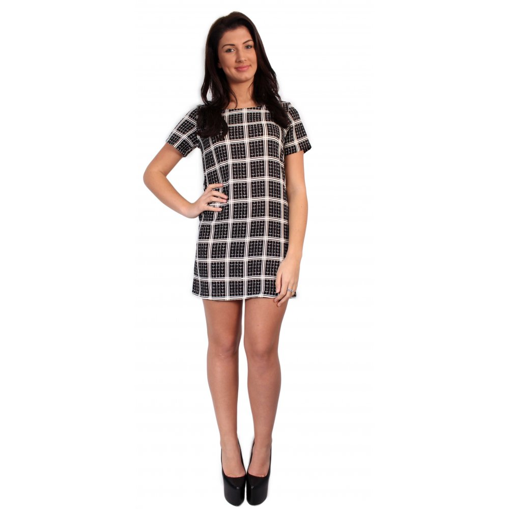Black and white check dress