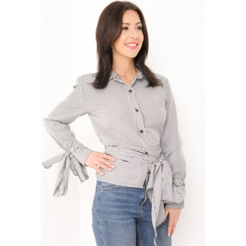 Black And White Striped Belt Tie Waist Long Sleeve Collared Shirt