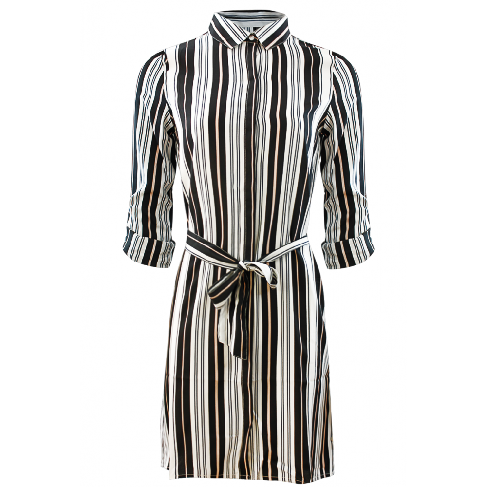 Black And White Striped Collared Waist Belt Shirt Dress ...