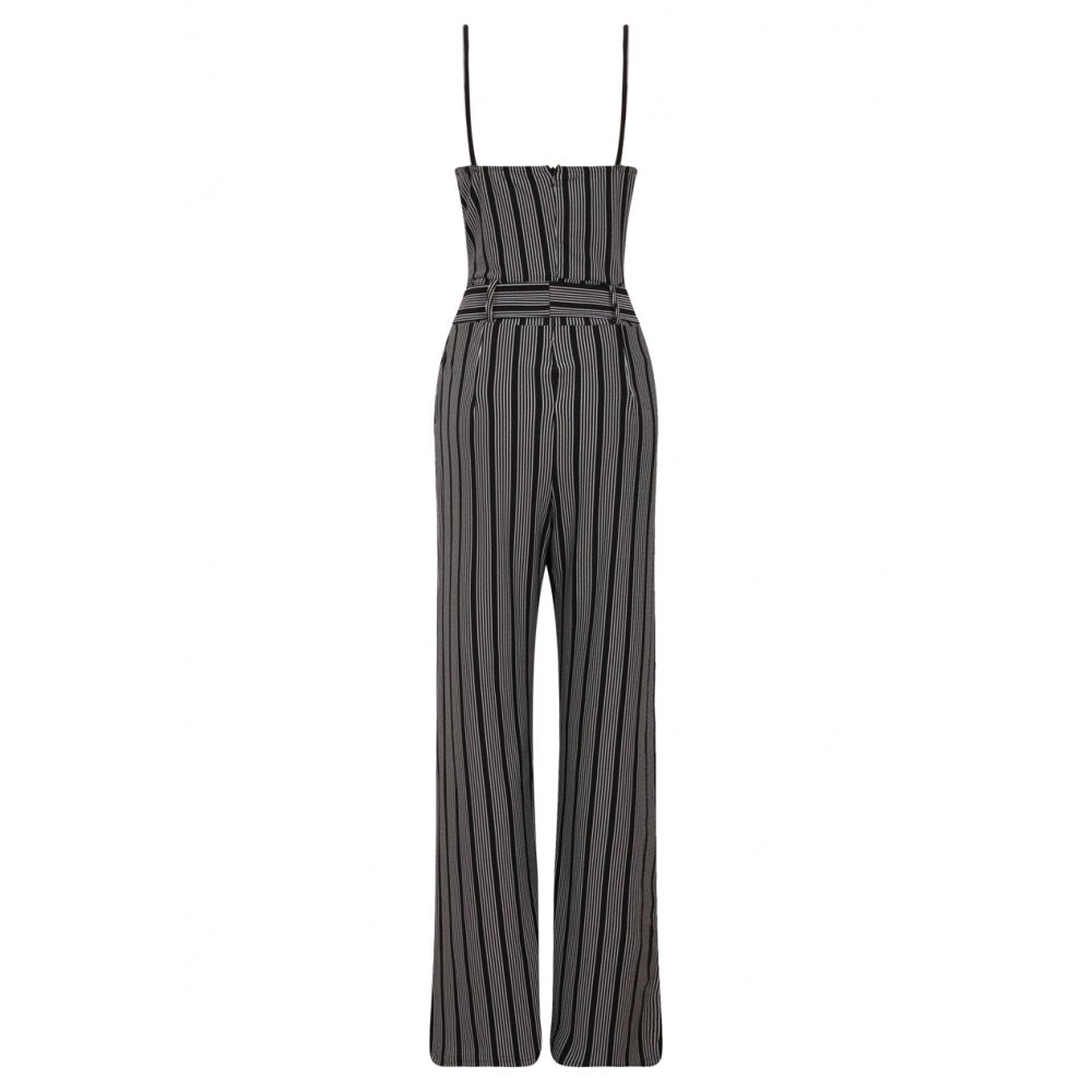 6cb606f339b Black And White Striped Keyhole Cut Out Jumpsuit