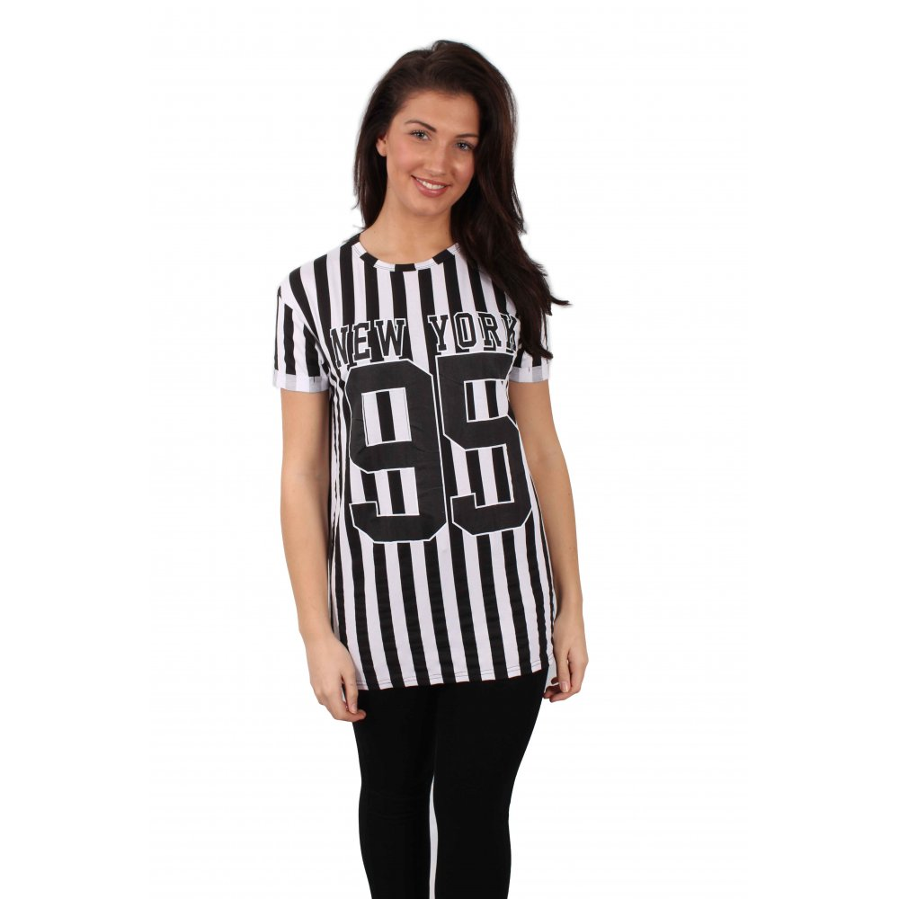 Black and white striped new york print t shirt parisia for New york printed t shirts