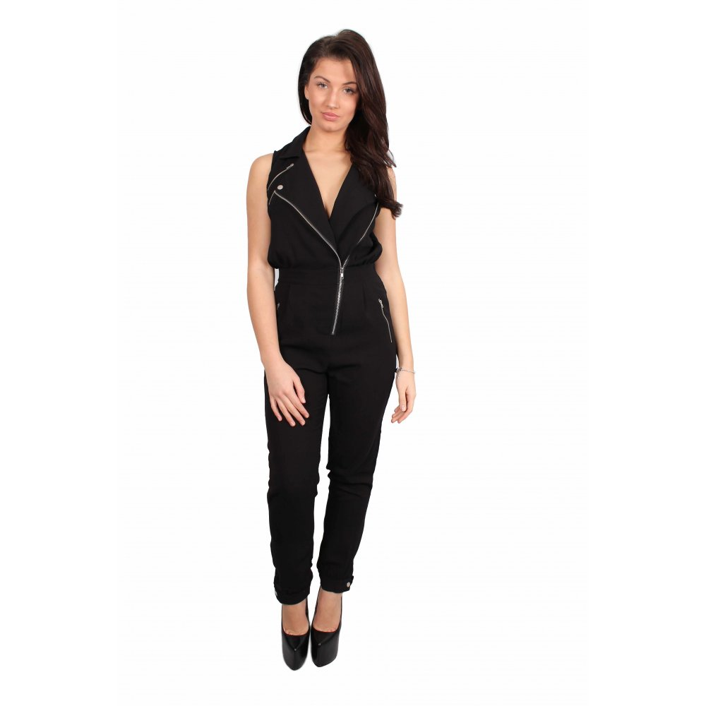 70154ea652 Black Biker Style Jumpsuit From Parisia
