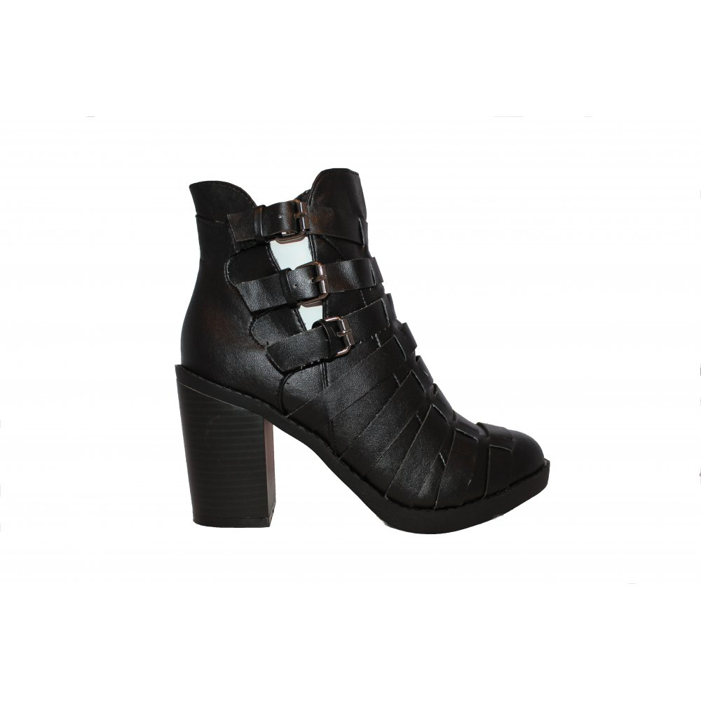 black buckle weaved ankle boot