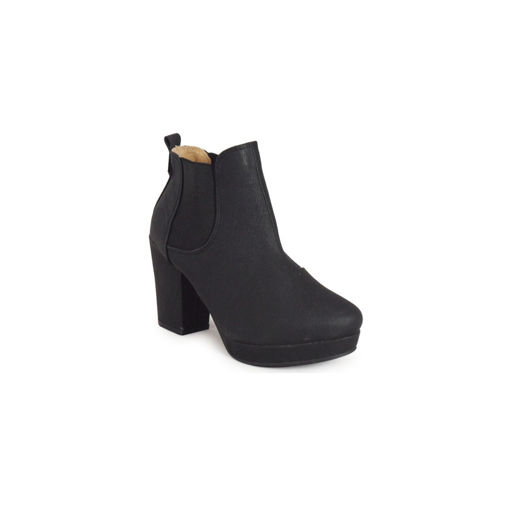 isabelle black chelsea heel ankle boots parisia fashion
