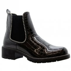 Black Croc Patent Studded Chunky Cleated Sole Chelsea Ankle Boots