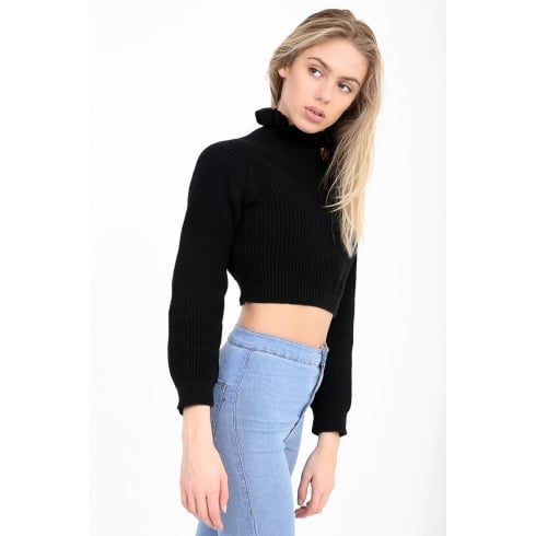 Black Cropped Frill Neck Knitted Jumper