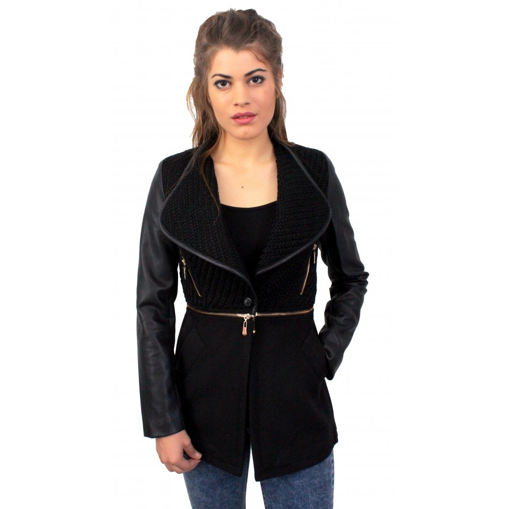 Black Detatchable Waist Coat With Leather Sleeves From Parisia