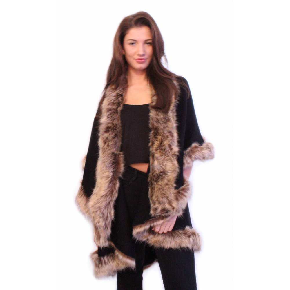 Wedding Faux Fur Cape black double layered cape with brown faux fur trimming from parisia trim