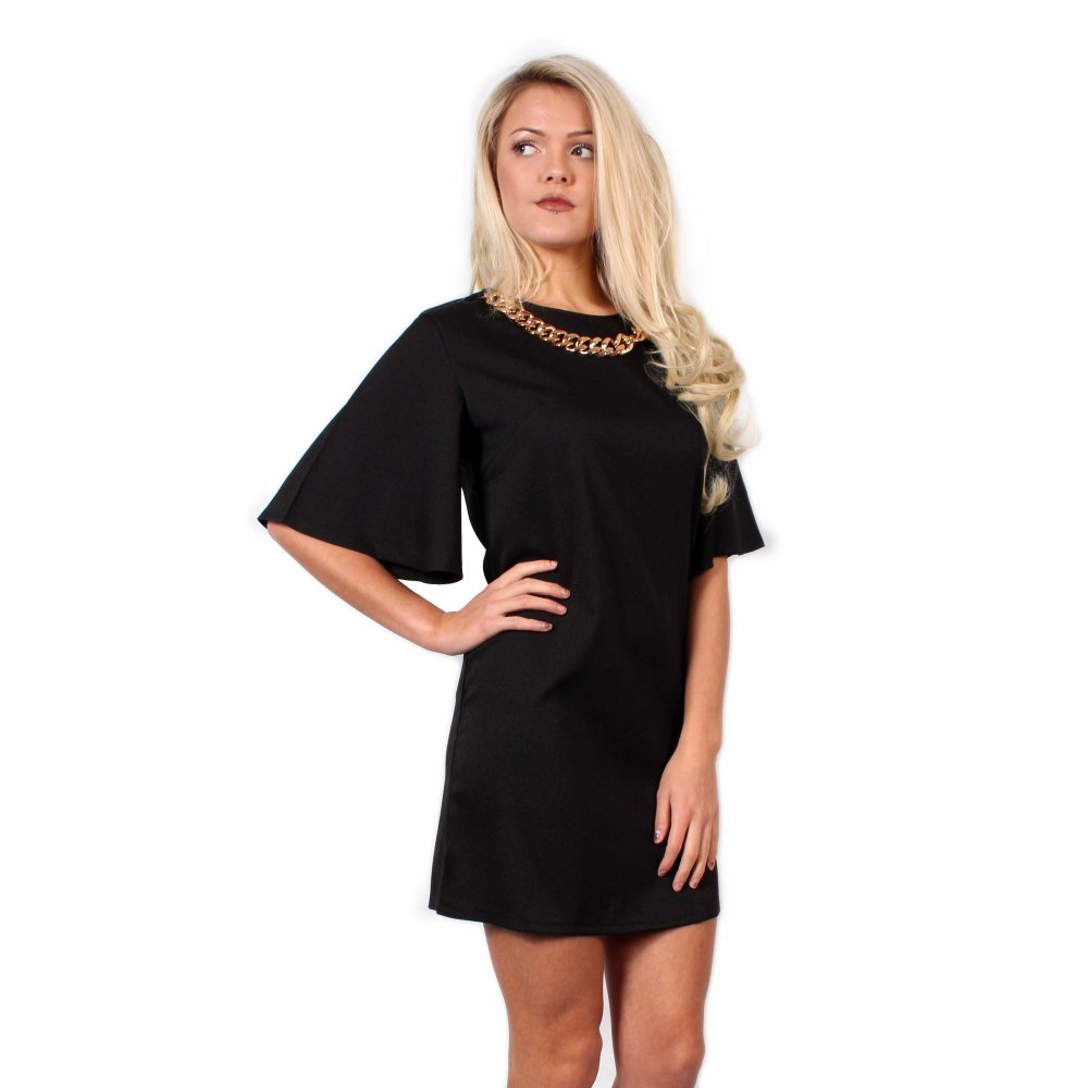 Black dress gold belt - Black Dress With Gold Necklace From Parisia