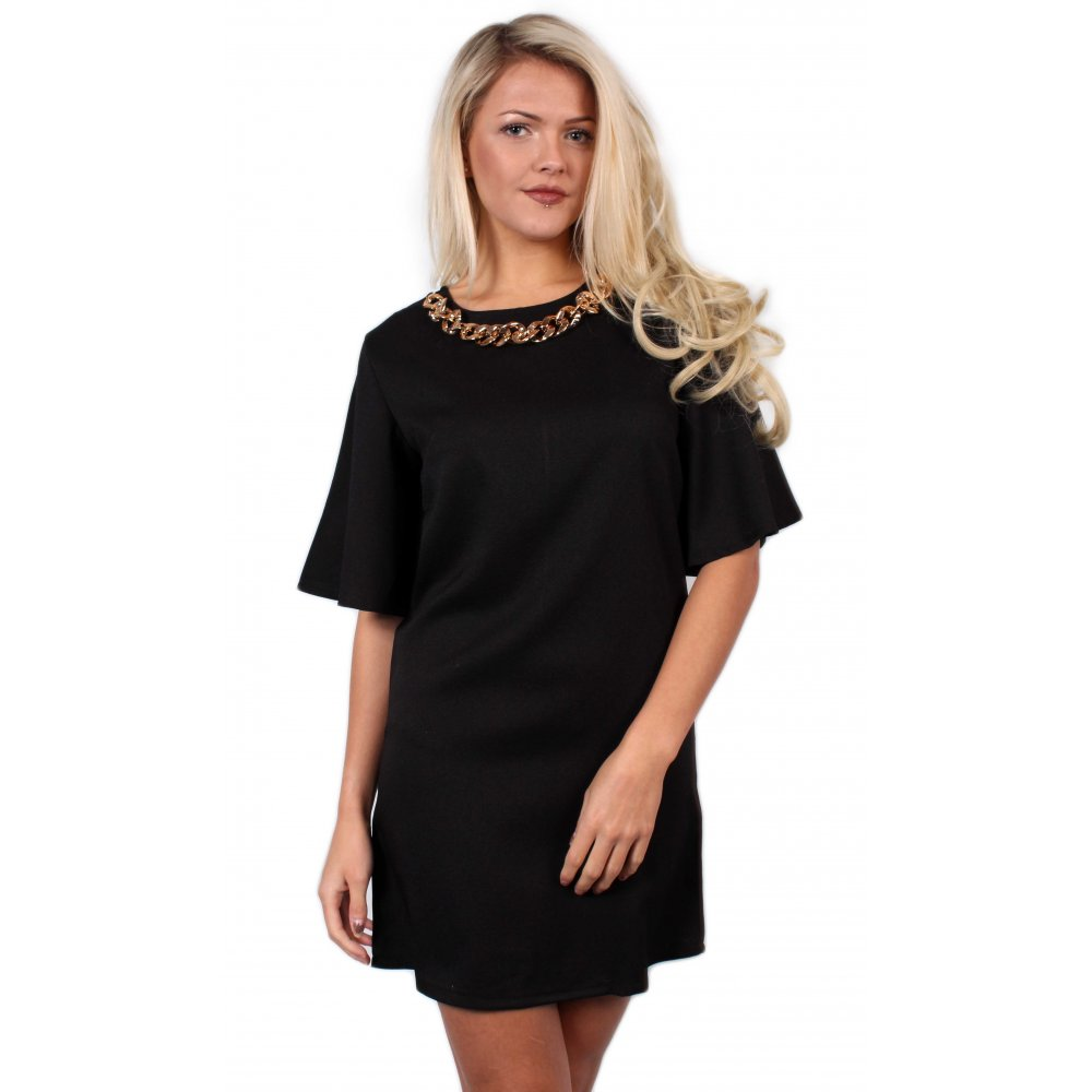 Black Dress With Gold Necklace From Parisia