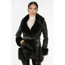Black Faux Fur And PU Leather Fur Cuff Waist Tie Belt Coat