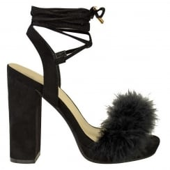 Black Faux Fur Block High Heel Tie up Heels