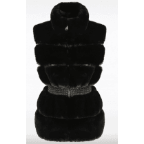 Black Faux Fur Elasticated Waist Band Zip Up Gilet Waistcoat