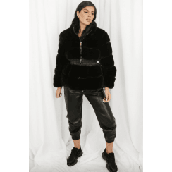 Black Faux Fur Elasticated Waist Jacket