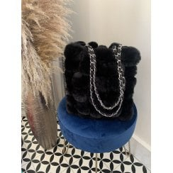 Black Faux Fur Pom Pom Handbag